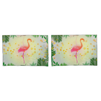 Flamingo and Tropical Leaves * Summer Time Madness Pillowcase