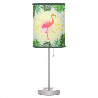 Flamingo and Tropical Leaves * Summer Time Madness Table Lamp