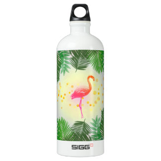 Flamingo and Tropical Leaves * Summer Time Madness Water Bottle