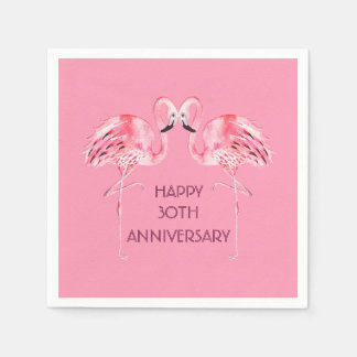 Flamingo Anniversary Cocktail Napkin