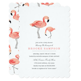 "Flamingo Baby Shower 5"" X 7"" Invitation Card"