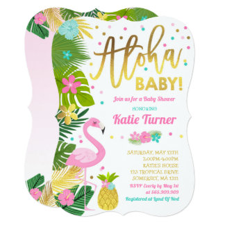 Flamingo Baby Shower Invitation Tropical Shower