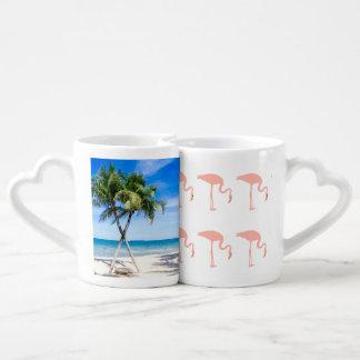 Flamingo Beach Palm Personalize Destiny Destiny'S Coffee Mug Set