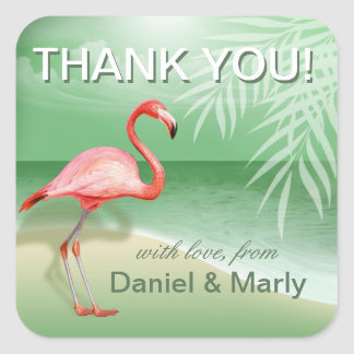 Flamingo Beach Thank You | jade Square Sticker