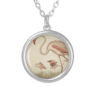 Flamingo bingo silver plated necklace