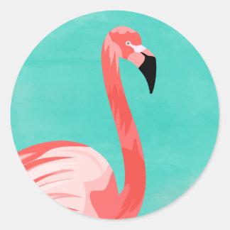 Flamingo Bird Classic Round Sticker
