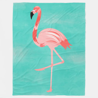 Flamingo Bird on Turquoise Background Fleece Blanket
