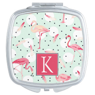 Flamingo Bird With Feathers | Add Your Initial Compact Mirrors
