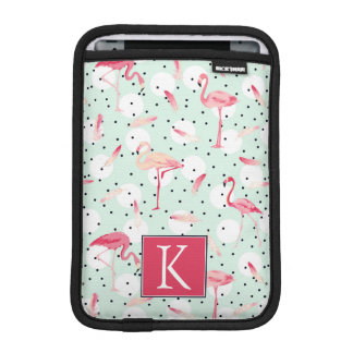 Flamingo Bird With Feathers | Add Your Initial iPad Mini Sleeves