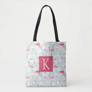 Flamingo Bird With Feathers | Add Your Initial Tote Bag