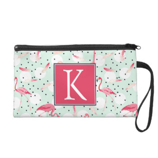 Flamingo Bird With Feathers | Add Your Initial Wristlet Purse