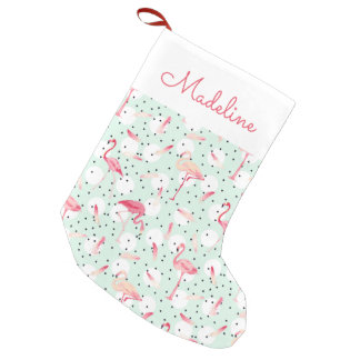 Flamingo Bird With Feathers   Add Your Name Small Christmas Stocking