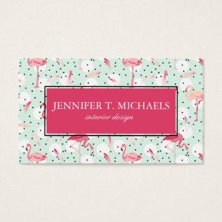 Flamingo Bird With Feathers | Monogram Business Card