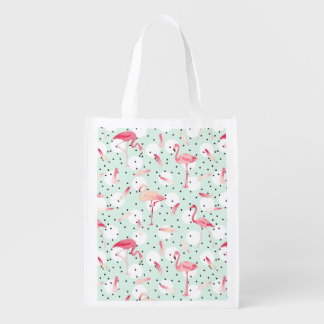 Flamingo Bird With Feathers Reusable Grocery Bags
