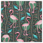 Flamingo Birds 20s Deco Ferns Pattern Black Green Fabric