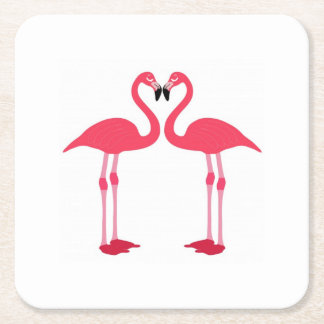 flamingo-birds square paper coaster
