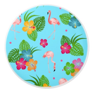 Flamingo Birds with Hibiscus Flowers Ceramic Knob
