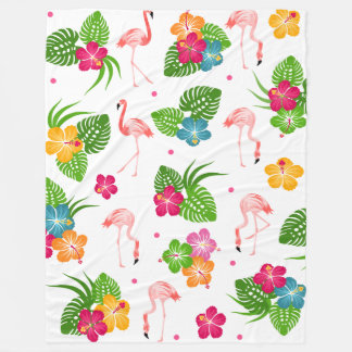Flamingo Birds with Hibiscus Flowers Fleece Blanket