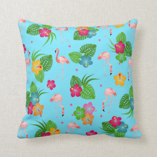 Flamingo Birds with Hibiscus Flowers Throw Pillow