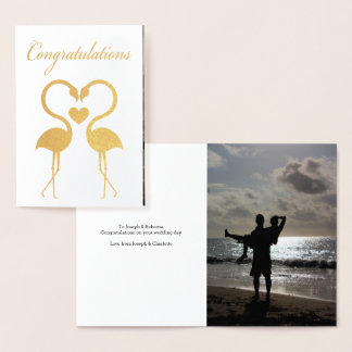 Flamingo Birds With Love Heart Personalized Foil Card