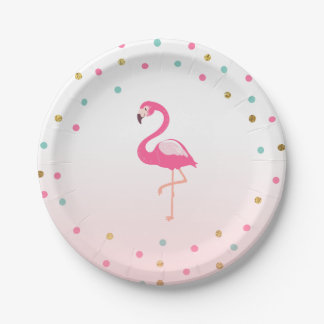 Flamingo Birthday Paper Plates Tropical Luau