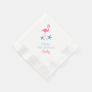 Flamingo Birthday Party Personalized Name Napkins Paper Napkin