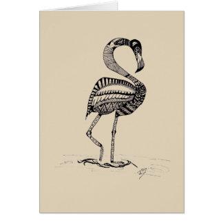 Flamingo  Black and White Greeting Card