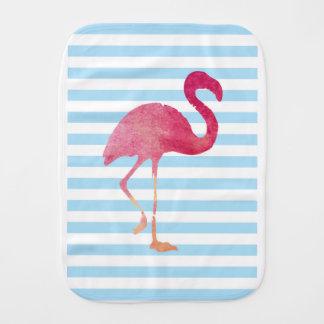 Flamingo, blue and white stripes burp cloth