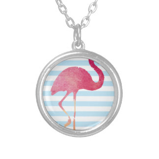 Flamingo, blue and white stripes silver plated necklace