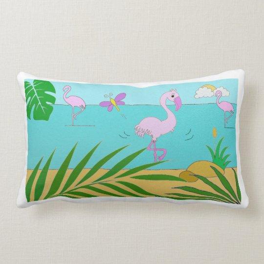 Flamingo by the lake lumbar pillow