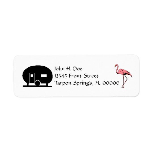 Flamingo Canned Ham travel Trailer Address Labels