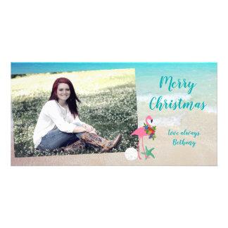 Flamingo Christmas Long Glossy Photo Card