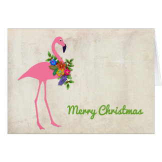 Flamingo Christmas Message Signature Card