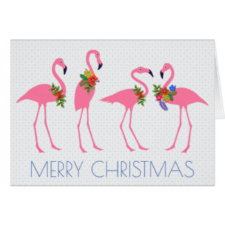 Flamingo Christmas n New Year Message Card