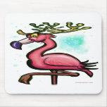 Flamingo Christmas Reindeer Mouse Mat