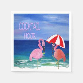 Flamingo cocktail hour beach napkins. napkin