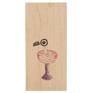 Flamingo Cocktail Wooden Pendrive Wood USB 2.0 Flash Drive