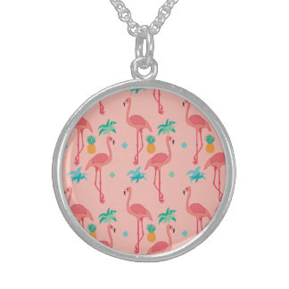 Flamingo Coral Sterling Silver Necklace