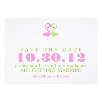 "Flamingo Couple Wedding Save the Date 5"" X 7"" Invitation Card"