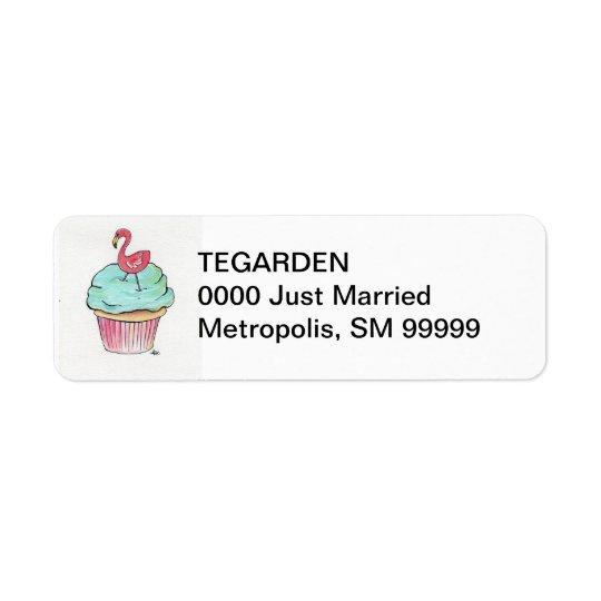 Flamingo Cupcake Return Address Label