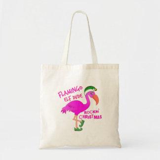 Flamingo Elf Dude Rockin' Christmas Tote Bag