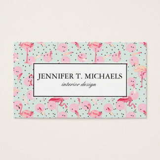 Flamingo Feathers On Polka Dots | Add Your Name Business Card