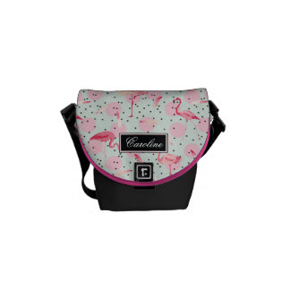 Flamingo Feathers On Polka Dots | Add Your Name Courier Bag