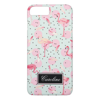 Flamingo Feathers On Polka Dots   Add Your Name iPhone 7 Plus Case