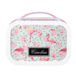Flamingo Feathers On Polka Dots | Add Your Name Lunch Box