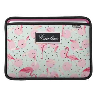 Flamingo Feathers On Polka Dots | Add Your Name MacBook Air Sleeve