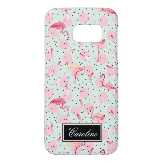 Flamingo Feathers On Polka Dots | Add Your Name Samsung Galaxy S7 Case