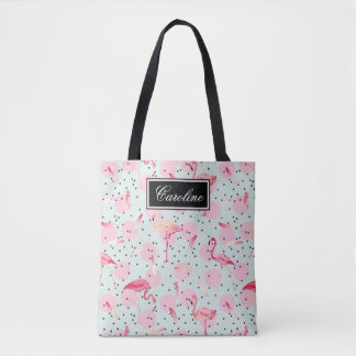 Flamingo Feathers On Polka Dots | Add Your Name Tote Bag