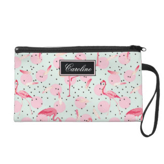 Flamingo Feathers On Polka Dots | Add Your Name Wristlet Clutches