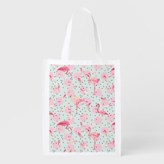 Flamingo Feathers On Polka Dots Reusable Grocery Bags